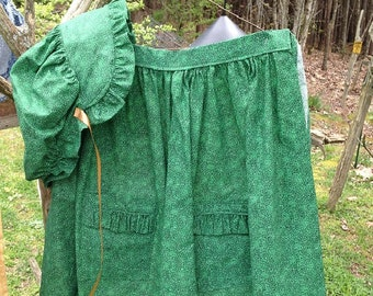 Bonnet and Apron - Grass Green Print Fabric with Ruffle on Pockets and Bonnet Brim - Adult