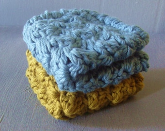 Thick And Thirsty - Potholders/Washcloths/Dishcloths -In Spring Green And Dusky Blue