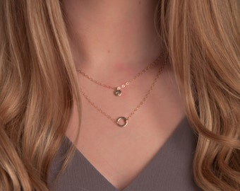 Gold or Silver Dainty Layered Necklace Set with Tiny Initial Disc, Layered Karma necklaces, Layered Infinity Necklace, Delicate Layered