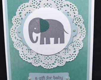 Baby Shower card, New Baby card, elephant baby card, handmade card