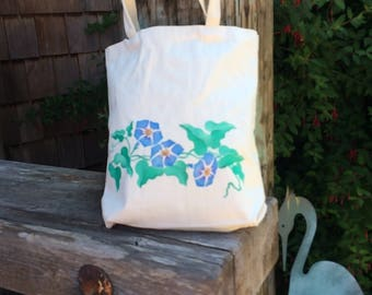 Morning glories hand-painted on cotton tote bag,  Book tote, grocery bag, knitting bag, project bag, school bag, shopping, beach bag.