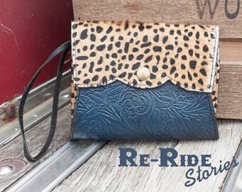 Cowhide Wristlet- Cheetah Navy