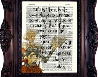 Book Art Print on Dictionary Page Book Art Literary Quotes Gift Ideas for Book Lover Book Quote Print Housewarming Gift C:645
