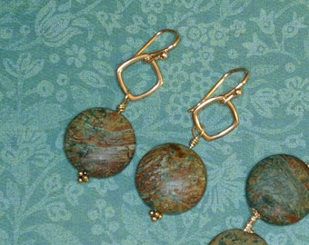 Hip to be Square Earrings - Blue and Brown Lentil Stone and Bali Silver Earrings E2079