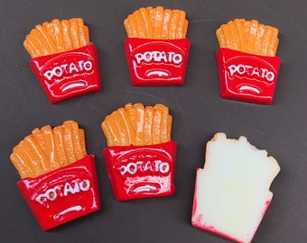 3/6pcs.Miniature Cabochon Potato Fries,Miniature Cabochon French fries,Cabochons,Resin,Miniature Sweet,Miniature Cabochon,DIY,Mobile