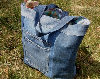 Recycled Denim Tote with Attractive Lining