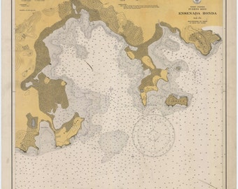 Puerto Rico Map - Ensenada Honda Historical Chart 1934