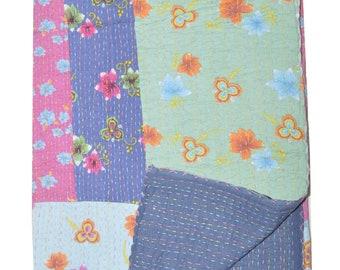 Handmade flower kantha throw ,cotton Quilts ,gudri ,Reversible bedcover  32