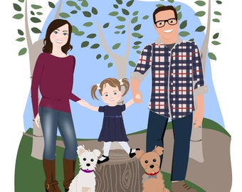 Custom Family Portrait |3 to 5 People |Family Drawing, Custom illustration, Character drawing, Holiday Caricature, JPG PDF