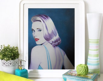 "Grace Kelly Print 8"" x 10"" High Fashion,  Woman's Portrait Gift. Portrait Of A Girl, Fashion illustration Woman Fashion Art Vanity Artwork"