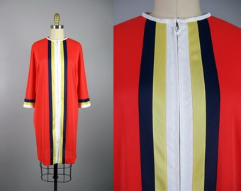 Vintage 1960s Red Nylon Color Block Robe 60s Zip Front Striped House Dress Size M