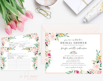 Printable Bridal Shower Invitation /  Shower Invite, Boho Bridal Shower, Wedding Shower - Paige