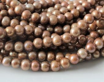 10 pcs Copper Pearls, Large Hole Pearls, Nude Pearls, Big Hole Pearls, Peach Pearls, Cord Pearls 8mm Pearls 9mm Real Pearls, Round Pearls