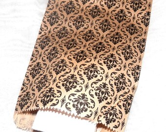 100 Pack Damask Print Merchandise Bags, Paper Bags, Gift Bags 5x7  Favor Bags