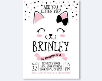 Kitty Birthday invitation, Kitty Cat Birthday Party, Cat Invitation, Are you kitten me Invitation, Personalized Digital Invitation