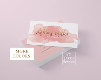 Watercolor business card template rose gold printable business card design gold and pink business card rose gold foil makeup artist glitter
