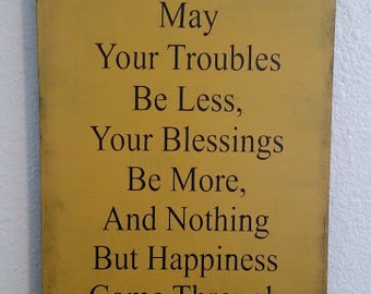 Gold and navy Irish blessing sign