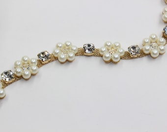 pearl applique trim, Bridal Applique, gold pearl trim, crystal  rhinestone applique, crystal sash, bridal sash headband wedding headpiece