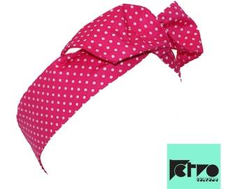 Hot Pink Spot Retro Rockabilly Pin up Headband