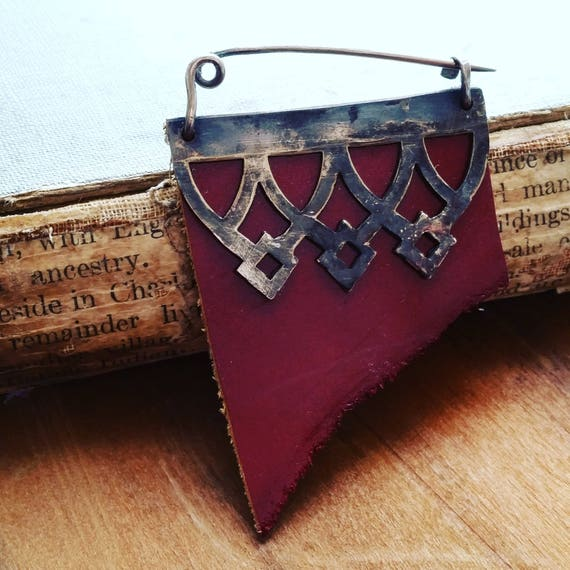 Mixed Media Sterling, Leather, Metal Gothic Fibula Brooch
