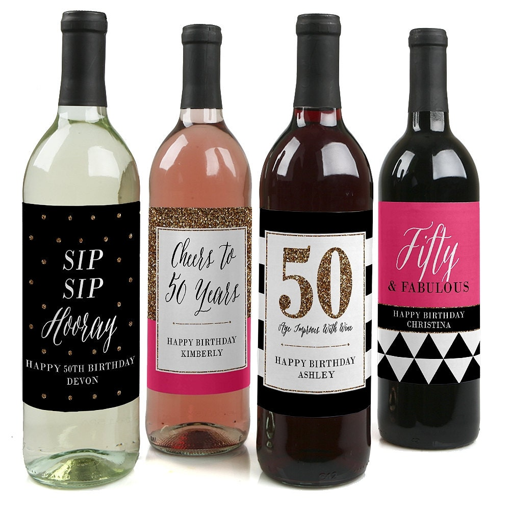 50th birthday wine bottle labels custom chic 50th birthday zoom arubaitofo Images