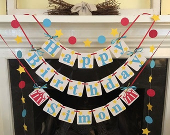 Circus Themed Birthday Banner HAPPY BIRTHDAY Big Top Birthday party Decoration Circus Decorations Circus garland Carnival Birthday Decor