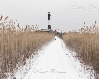 Winter pathway at Fire Island Lighthouse