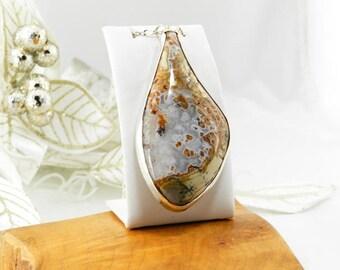 Amethyst Sage Agate Pendant - Amethyst Sage Agate Necklace - Amethyst Sage - Amethyst Sage Pendant - Sterling Silver Necklace - #A36