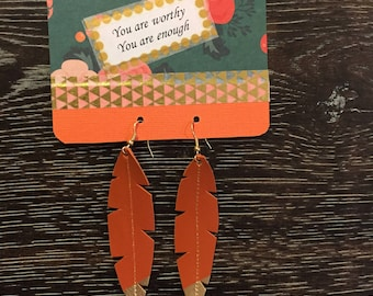 Gold Dipped Orange Feather Earrings