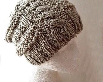 knit slouchy hat pattern, women's knit hat pattern, women's knit slouchy hat pattern, teen knit hat pattern, cable knit hat pattern