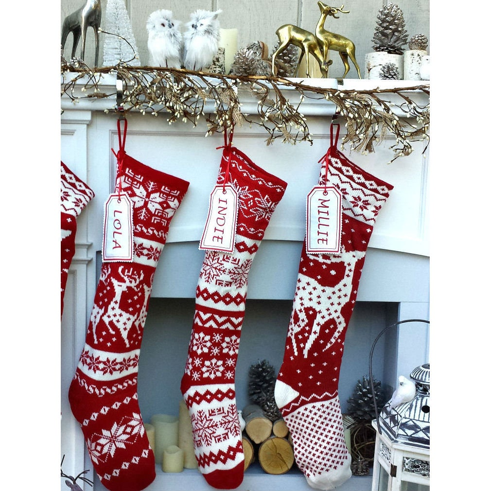 Knit christmas stockings red white renindeer or snowflake description this is a larger knit christmas stocking bankloansurffo Choice Image