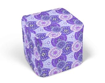 Purple Mandala  Ottoman , Footstool, Boho Chic Decor