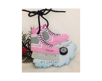 Pink Ice Hockey Skates Personalized Christmas Ornament / Ice Hockey Ornament / Custom Name or Message