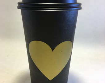 20 Gold foil heart chalkboard cups for Hot cocoa chocolate bar valentines day party decorations decor baby shower wedding bridal disposable