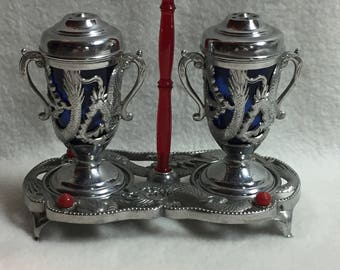 Salt and Pepper - 3 Pieces - Silver Dragons with Colbalt Blue Glass and Display Tray (#048)