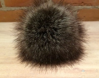 Grey Faux Fur Pom, 5 Inch, Brown Faux Pom, Grey Raccoon, Fur Ball, Fake Fur Pom, Hat Accessory, Knitting Supplies, Removable Pom, Hat Topper