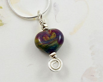 Multi Color Raku Glass Heart Pendant