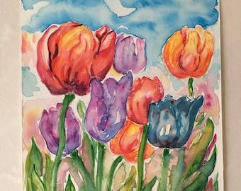 Tulips, watercolour