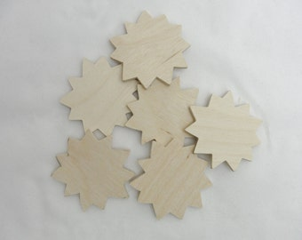 "2"" Sunflower wood cutout set of 6"