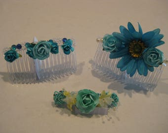 Turquoise Bejeweled Paradise Broom Collection:  Hair Accessories