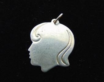 Vintage Estate .925 Sterling Silver Girl Silhouette Pendant 4.8g #E2861
