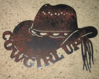 Cowgirl Up- Country Western Metal Art