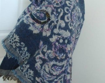 Indigo Blue Paisley Wool Shawl - Purple Lilac Indian Hand Embroidered Pashmina Wrap -Vintage 90s Large Afghan Scarf Artisan OOAK Jain Shawls