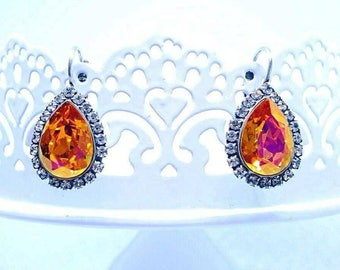 Earrings Crystal Astral Pink, silver, pear shape, 14x mm, made with crystals from Swarovski (r)