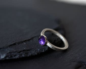 February Birthstone ring - Sterling silver Amethyst ring -  Sterling Silver Purple Ring - Birthstone ring -Hammered with 6 mm Gemstone