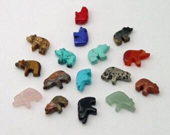 Dix pierres précieuses marcher ours fétiche perles Zuni Style sud-ouest Totem Animal gardien force puissance de guérison connaissance Guide spirituel ouest