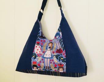 Alice in Wonderland Shoulder Bag in Blue, Handbag, cotton steel rifle, canvas wonderland