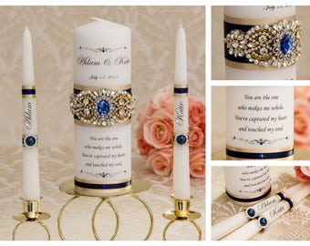 Navy Blue and Champagne Wedding Unity Candle Set, Personalized Unity Candle, Gold Wedding Candles, Crystal Unity Candle, Monogram Candle Set