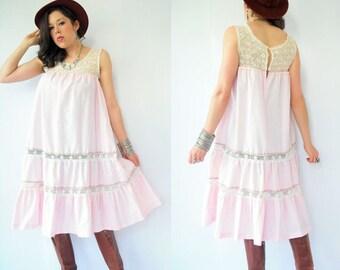 Vintage 70's Boho Draped Pink Pinstripe Crochet Mexican Tent Dress / Gypsy Festival Sun Dress