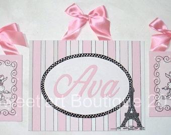 Art for Girls Room, Paris, Canvas name sign, Monogram art, 3 paintings, Eiffel tower, poodle, Nursery wall art, Paris nursery, Parisian
